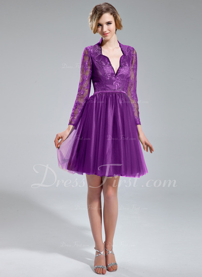 A-Line/Princess V-neck Knee-Length Tulle Lace Cocktail Dress With Beading Sequins (016019705)