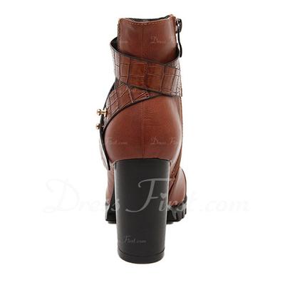 Suni deri Kalın Topuk Pompalar Kapalı Toe Bot Ayak bileği Boots Ile Fermuar ayakkabı (088057548)