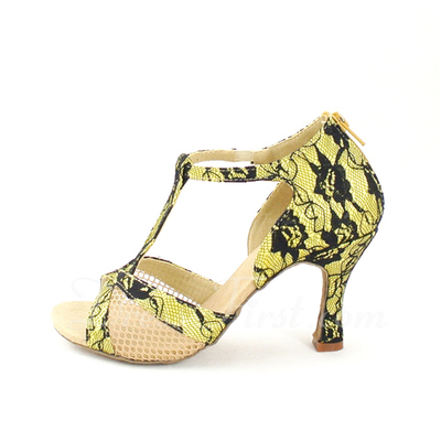 Women's Lace Heels Sandals Latin With T-Strap Dance Shoes (053057164)