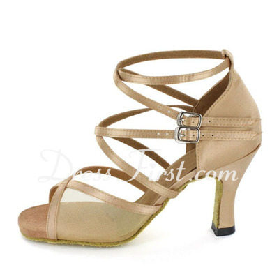Women's Satin Heels Sandals Latin Salsa With Ankle Strap Dance Shoes (053021605)