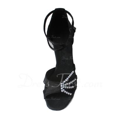 Kadın Saten Topuk Sandalet Latin Ile Ayakkabı Askısı Dans Ayakkabıları (053006986)