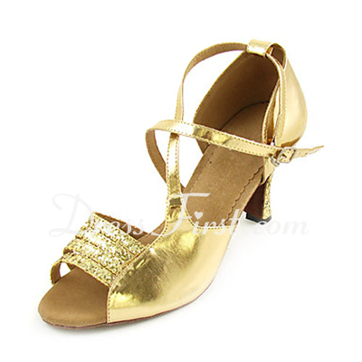 Women's Sparkling Glitter Patent Leather Heels Sandals Latin Dance Shoes (053013270)