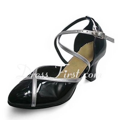 Women's Leatherette Patent Leather Heels Pumps Modern Dance Shoes (053013358)
