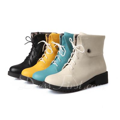 Suni deri Alçak Topuk Ayak bileği Boots Ile Bağcıklı ayakkabı (088057295)
