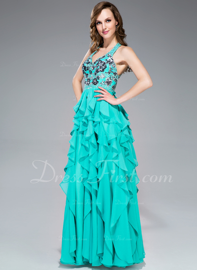 A-Line/Princess V-neck Floor-Length Chiffon Prom Dress With Appliques Lace Sequins Cascading Ruffles (018044979)