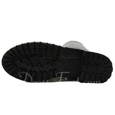 Suni deri Alçak Topuk Bot Diz Yüksek Boots Boots Binme ayakkabı (088057533)