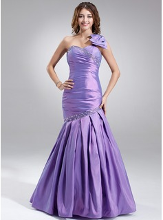 Mermaid One-Shoulder Floor-Length Taffeta Prom Dress With Ruffle Beading