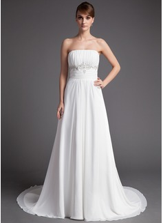 A-Line/Princess Strapless Court Train Chiffon Wedding Dress With Ruffle Beading Sequins