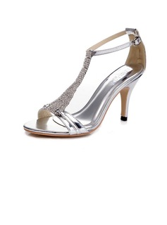 Women's Patent Leather Stiletto Heel Sandals Pumps With Rhinestone Buckle shoes