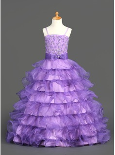 A-Line/Princess Floor-Length Organza Satin Flower Girl Dress With Beading Sequins Cascading Ruffles