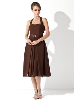 A-Line/Princess Halter Knee-Length Chiffon Charmeuse Bridesmaid Dress With Beading Bow(s)