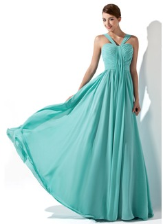 A-Line/Princess Sweetheart Sweep Train Chiffon Prom Dress With Ruffle