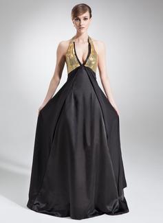 Imperialna Kantar Tren Dworski Charmeuse Sequined Suknia dla Mamy Panny Młodej Z Perełki