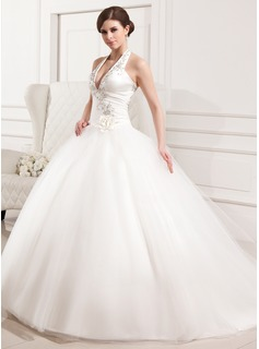 Ball-Gown Halter Chapel Train Satin Tulle Wedding Dress With Embroidered Ruffle Flower(s)