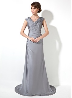 Sheath/Column V-neck Sweep Train Charmeuse Mother of the Bride Dress With Ruffle Appliques Lace