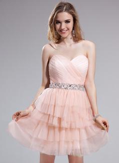 A-Linie/Princess-Linie Herzausschnitt Kurz/Mini Tüll Ballkleid mit Perlen verziert Pailletten Gestufte Rüschen