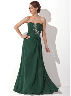 A-Line/Princess Sweetheart Floor-Length Chiffon Prom Dress With Ruffle Beading (018004837)