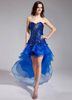 Corte A/Princesa Escote corazón Asimétrico Organdí Con lentejuelas Vestido de baile de promoción con Bordado Cascada de volantes