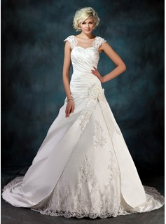 Ball-Gown Sweetheart Chapel Train Satin Tulle Wedding Dress With Ruffle Lace Beading Flower(s)