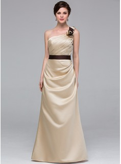 A-Line/Princess One-Shoulder Floor-Length Satin Bridesmaid Dress With Sash Flower(s)