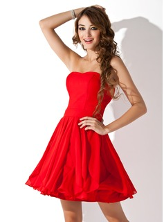 A-Line/Princess Sweetheart Short/Mini Chiffon Homecoming Dress