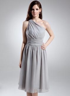 Çan/Prenses Tek-Omuzlu Diz Hizası Chiffon Nedime Elbisesi Ile Büzgü