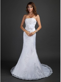 Trumpet/Mermaid Strapless Court Train Satin Tulle Wedding Dress With Lace Beading Flower(s) Sequins