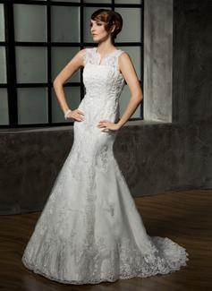 Trumpet/Mermaid V-neck Court Train Satin Tulle Wedding Dress With Lace Beading