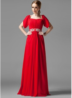 A-Line/Princess Square Neckline Floor-Length Chiffon Holiday Dress With Ruffle Beading Sequins