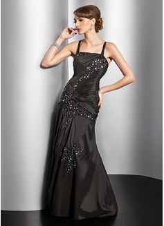 Vestidos princesa/ Formato A Decote quadrado Vestidos longo Tafetá Vestido de festa com Pregueado laço Bordado (017014828)