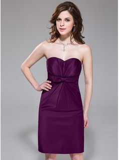 Sheath/Column Sweetheart Knee-Length Satin Bridesmaid Dress With Ruffle Bow(s)