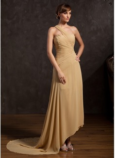 Linia A/Księżniczka Jednoramienna Asymetryczna Chiffon Suknia dla Mamy Panny Młodej Z Żabot