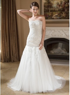 Mermaid Strapless Court Train Satin Tulle Wedding Dress With Lace Beadwork