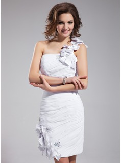 Sheath/Column One-Shoulder Knee-Length Chiffon Cocktail Dress With Ruffle Beading Appliques Lace Flower(s)