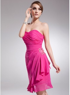 Sheath Strapless Knee-Length Chiffon Homecoming Dress With Ruffle Beading