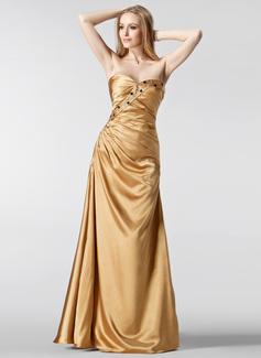 A-Linie/Princess-Linie Herzausschnitt Bodenlang Charmeuse Abendkleid mit Rüschen Perlen verziert