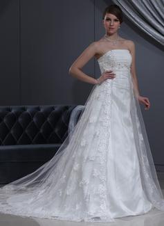Corte imperial Estrapless Cola capilla Tul Encaje Vestido de novia con Bordado
