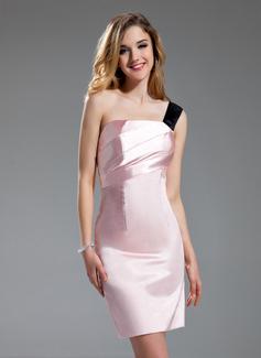 Wąska Jednoramienna Krótka/Mini Charmeuse Suknia dla Druhny Z Szarfy