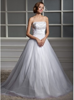 Ball-Gown Strapless Chapel Train Tulle Wedding Dress With Ruffle Beading