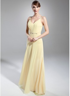 A-formet/Prinsesse V-hals Gulvlengde Chiffong Festkjole med Frynse Perlebesydd
