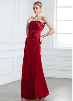 Sheath/Column Strapless Floor-Length Satin Bridesmaid Dress With Ruffle