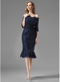 Trumpet/Mermaid Off-the-Shoulder Knee-Length Chiffon Lace Mother of the Bride Dress With Ruffle