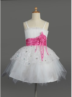 Empire Knee-length Flower Girl Dress - Tulle/Charmeuse Sleeveless Scalloped Neck With Sash/Flower(s)/Sequins