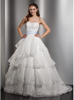 Ball-Gown Sweetheart Chapel Train Organza Satin Wedding Dress With Lace Sash Bow(s) Cascading Ruffles