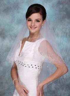 Jednowarstwowe Opuszki palca ślubne welony Z Cięte Bez Lamówki
