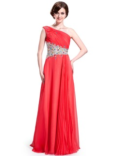 A-Line/Princess One-Shoulder Floor-Length Chiffon Tulle Prom Dress With Ruffle Beading