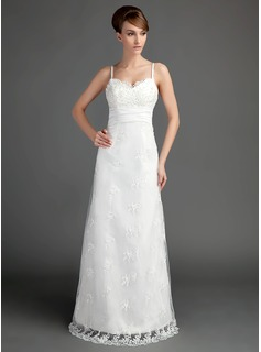 A-Line/Princess Sweetheart Floor-Length Satin Lace Wedding Dress With Ruffle Beading