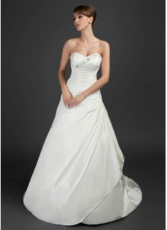 A-Line/Princess Sweetheart Court Train Taffeta Wedding Dress With Ruffle Beading