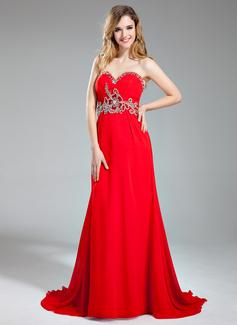 A-Line/Princess Sweetheart Sweep Train Chiffon Prom Dress With Ruffle Beading Sequins