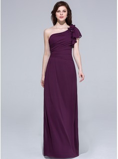 A-Line/Princess One-Shoulder Floor-Length Chiffon Prom Dress With Beading Flower(s) Cascading Ruffles